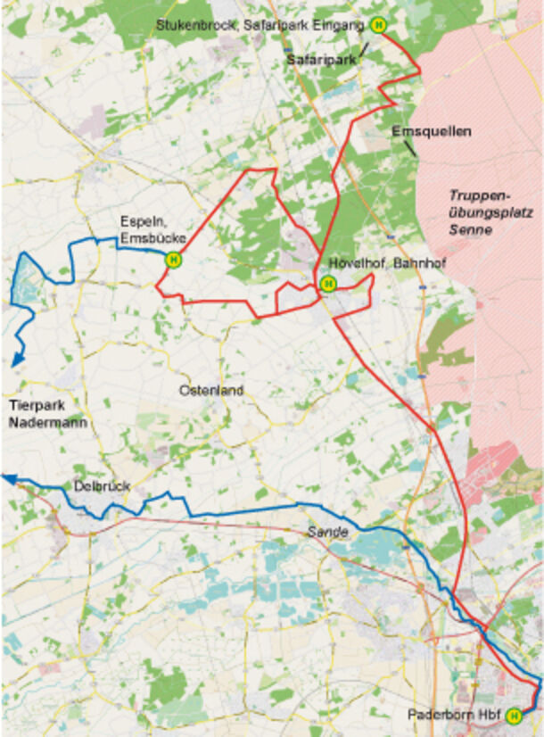Karte Paderborn.R20 421 426 Safari Linie Fahr Mit