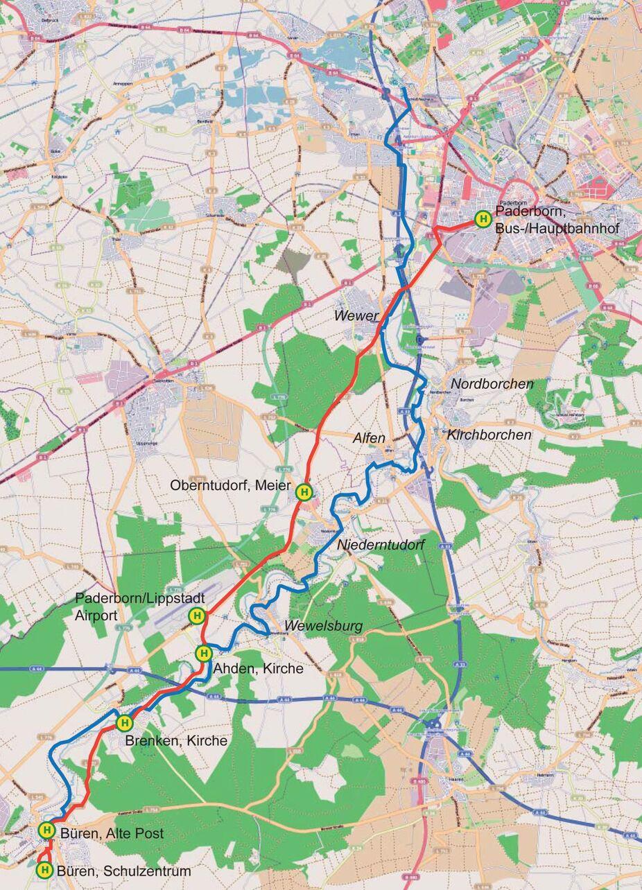 Karte Paderborn.Almetal Linie The Alme Cycle Trail Fahr Mit